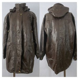 Oversized Dark Brown Real Leather Jacket